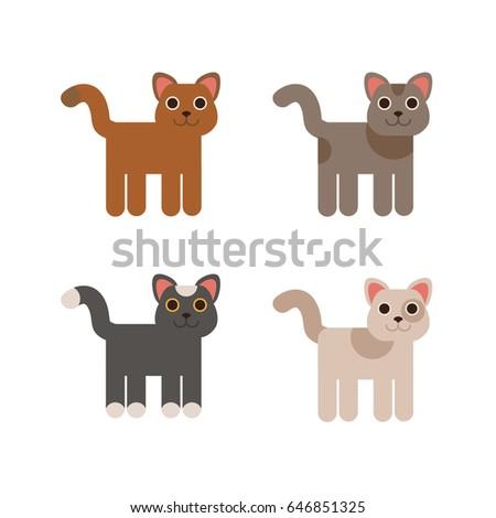 Cartoon cats set. Simple flat style vector illustration.