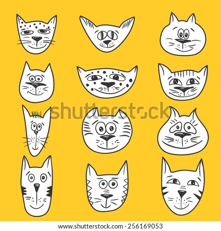 Cartoon Cats Set Vector Sketch Emotional Smiling Cat Faces Icons
