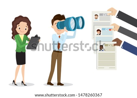 Cartoon caucasian businessman looking through binoculars on resume,different hands holding cv.Boss,female assistant and job candidates to job.Recruitment and job search concept. Flat vector