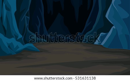 Wonderful Cartoon Cave Landscape Vector
