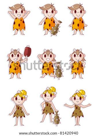 cartoon Caveman icon set,vector