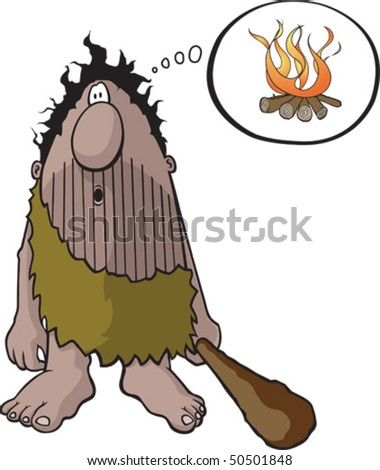Cartoon Caveman with an idea. Vector file.