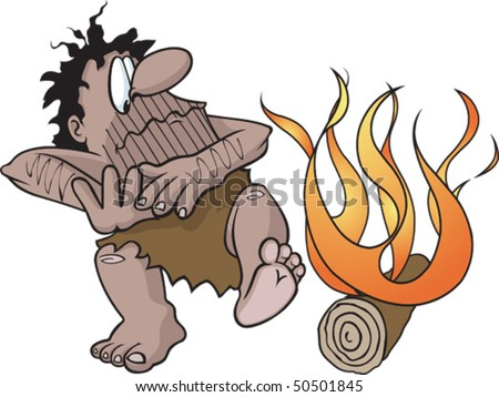 Cartoon caveman with fire. Vector file. Caveman and fire are on separate layers.