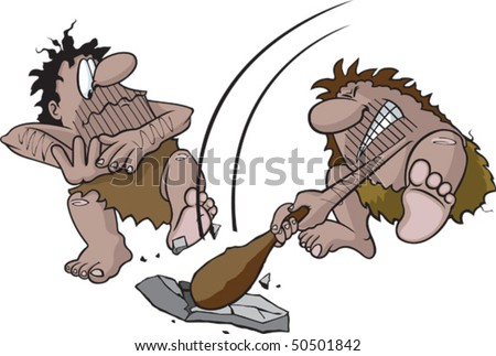 Cartoon Cavemen with club. Vector file. Cavemen and rock are all three on separate layers.