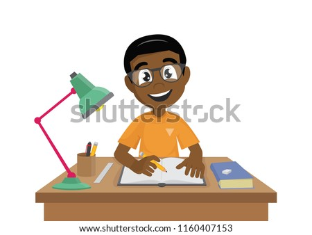 Cartoon character, African Boy makes a homework., vector eps10