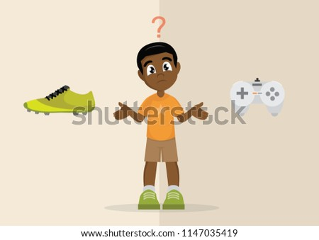 Cartoon character, African Boy's choice between sport or play games, vector eps10