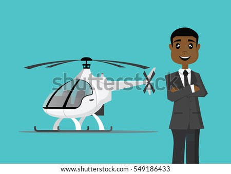 Cartoon character, African businessman and his helicopter., vector eps10