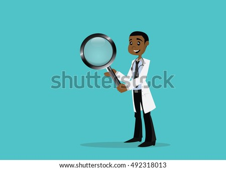 Cartoon character, African doctor holding a magnifying glass., vector eps10