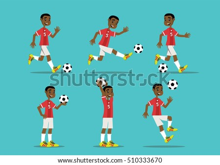 Cartoon Character African Man Playing Soccer Vector Eps10