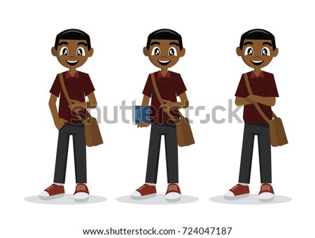 Cartoon character, African students in casual clothes., vector eps10