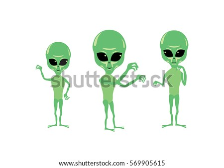 Cartoon character alien. Green alien vector. Group of aliens