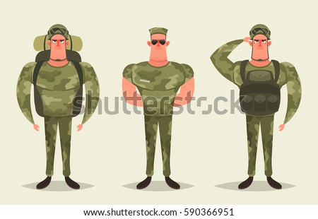 cartoon character   army