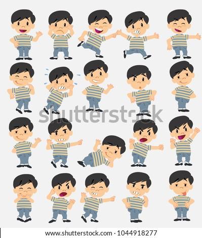 cartoon character asian boy in