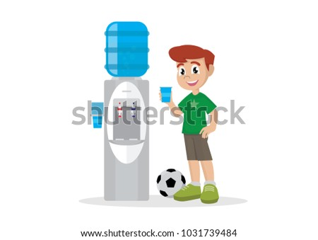 Cartoon character, Boy drinking water in water cooler.,vector eps10