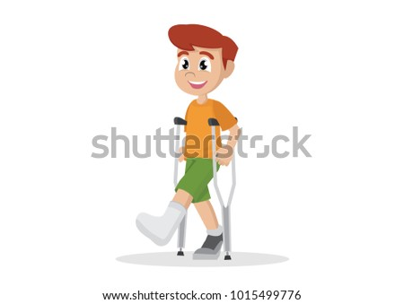 Cartoon character, Boy with broken leg in plaster., vector eps10