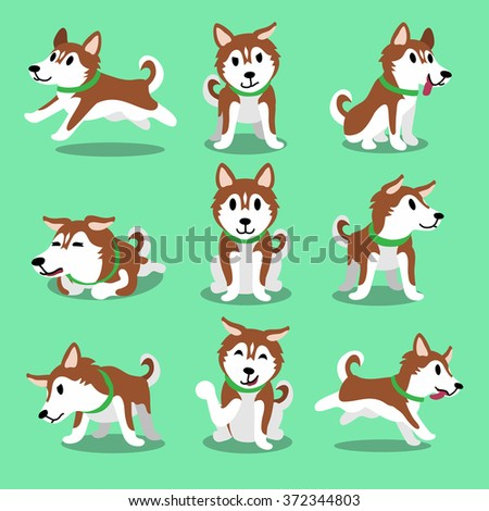 Cartoon character brown siberian husky dog poses