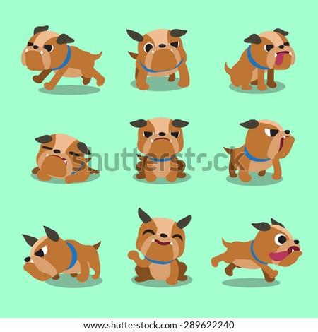cartoon character bulldog poses