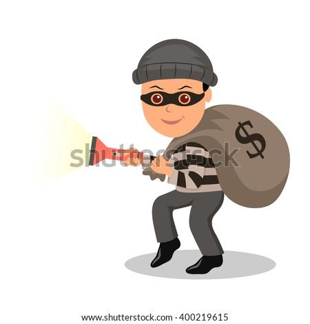 cartoon character burglar in a