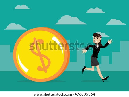 Cartoon character, Business women escape from debt dollars., vector eps10