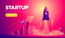 Cartoon character, businessman flying in startup rocket. Vector eps10.