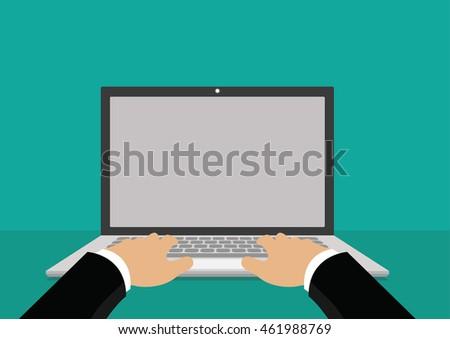 Cartoon character, Businessman hand on computer laptop., vector eps10