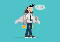 Cartoon character, Businessman in jetpack and countdown to fly up the sky., Vector eps10.