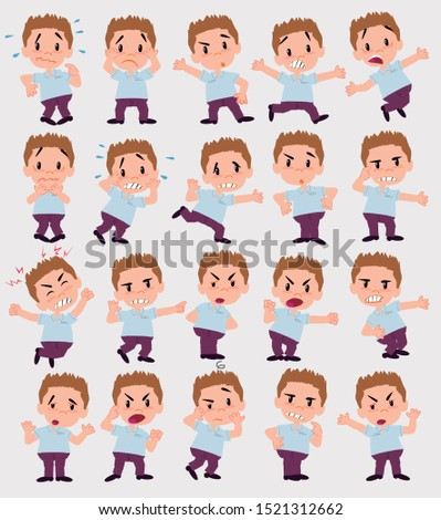 Cartoon character businessman in smart casual style. Set with different postures, attitudes and poses, always in negative attitude, doing different activities in vector vector illustrations.
