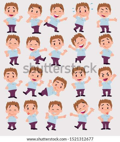 Cartoon character businessman in smart casual style. Set with different postures, attitudes and poses, always in positive attitude, doing different activities in vector vector illustrations.