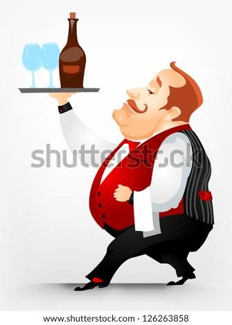 Cartoon Character Cheerful Chubby Men. Waiter. Vector Illustration. EPS 10.