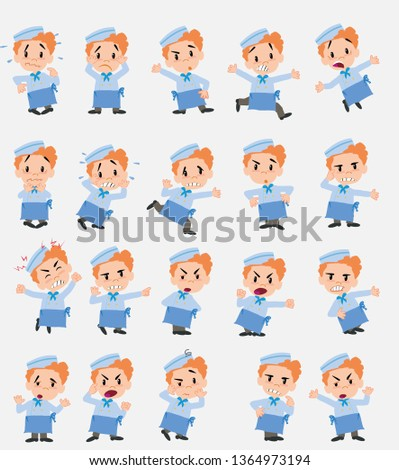 Cartoon character chef. Set with different postures, attitudes and poses, always in negative attitude, doing different activities in vector vector illustrations.