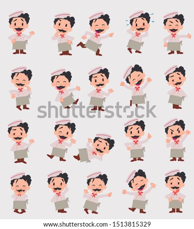 Cartoon character chef. Set with different postures, attitudes and poses, always in positive attitude, doing different activities in vector vector illustrations.