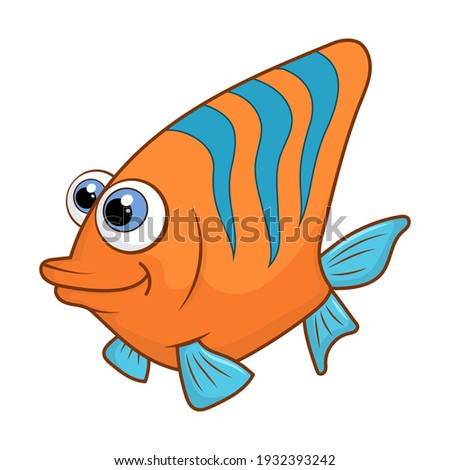 Cartoon character Coral fish isolated on white background. Tropical underwater aquatic creature. Template of cute ocean fish. Education card for kids learning animals. Vector design in cartoon style