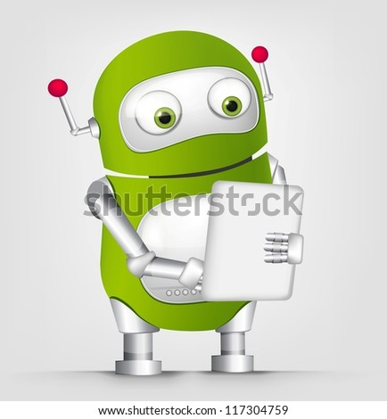 Cartoon Character Cute Robot Isolated on Grey Gradient Background