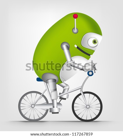 Cartoon Character Cute Robot Isolated on Grey Gradient Background. Biker. Vector EPS 10.