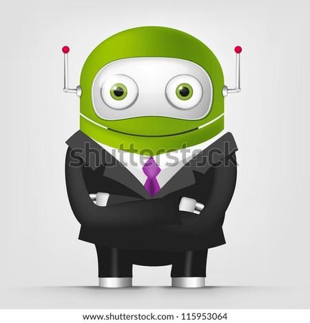 Cartoon Character Cute Robot Isolated on Grey Gradient Background. Businessmen Cross Hands. Vector EPS 10.