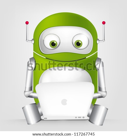 Cartoon Character Cute Robot Isolated on Grey Gradient Background Coder Vector EPS 10.