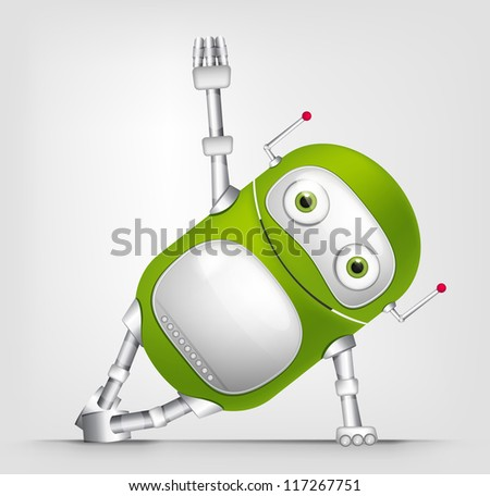 Cartoon Character Cute Robot Isolated on Grey Gradient Background. Gym. Vector EPS 10.