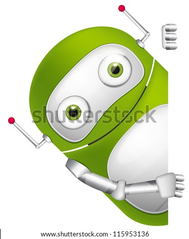 Cartoon Character Cute Robot Isolated on Grey Gradient Background. Look Out. Vector EPS 10. - stock vector