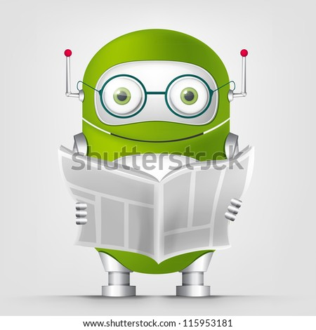 Cartoon Character Cute Robot Isolated on Grey Gradient Background. News. Vector EPS 10.
