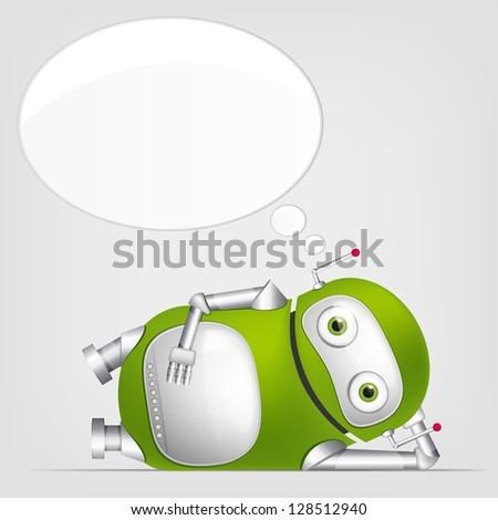 Cartoon Character Cute Robot Isolated on Grey Gradient Background. Relaxation. Vector EPS 10.