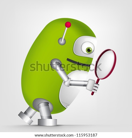 Cartoon Character Cute Robot Isolated on Grey Gradient Background. Search. Vector EPS 10.