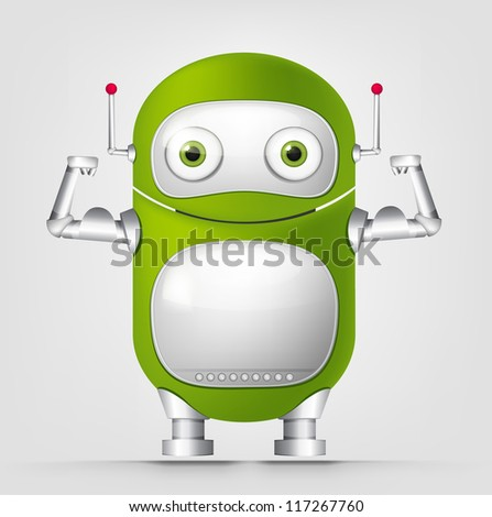 Cartoon Character Cute Robot Isolated on Grey Gradient Background. Strong. Vector EPS 10.