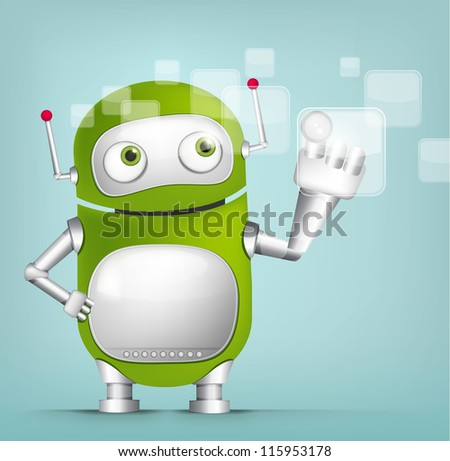 Cartoon Character Cute Robot Isolated on Grey Gradient Background. Touch Screen. Vector EPS 10.