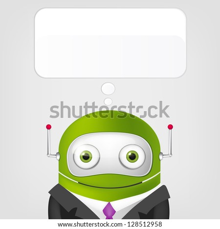 Cartoon Character Cute Robot on Grey Gradient Background. Businessmen. Vector EPS 10.