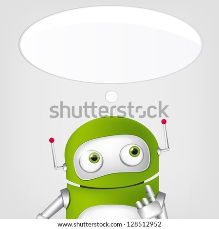 Cartoon Character Cute Robot on Grey Gradient Background. Thinking. Vector EPS 10.