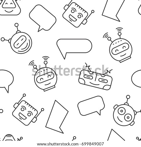 Cartoon character cute Robot Seamless Pattern whith Chat bubble outline stroke pictogram vector on White Background. Chat bot pattern for backgrounds mobile app