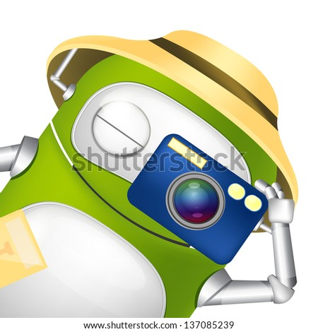 Cartoon Character Cute Robot. Tourist Photographer. Vector EPS 10.