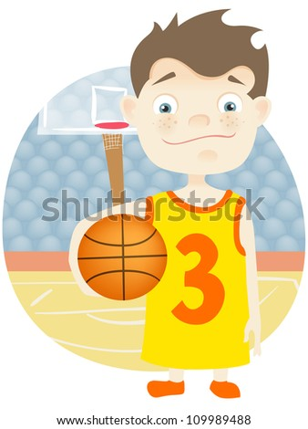 Cartoon Character Cute Teenager Isolated on White Background. Basketball. Vector EPS 10.