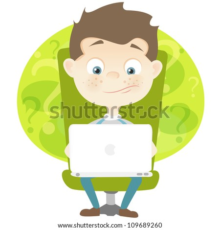 Cartoon Character Cute Teenager Isolated on White Background. Coder. Vector EPS 10.