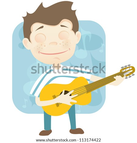 Cartoon Character Cute Teenager Isolated on White Background. Guitarist. Vector EPS 10. - stock vector